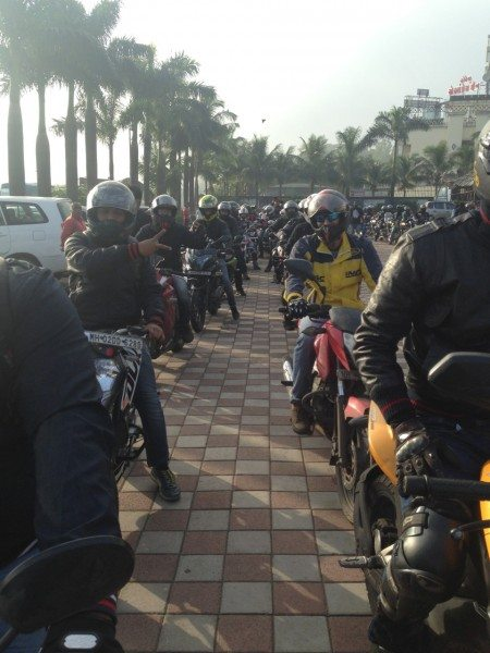 Bikers at the India Bike Week's Chai and Pakoda ride in Mumbai