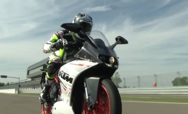 KTM RC 390 on racetrack