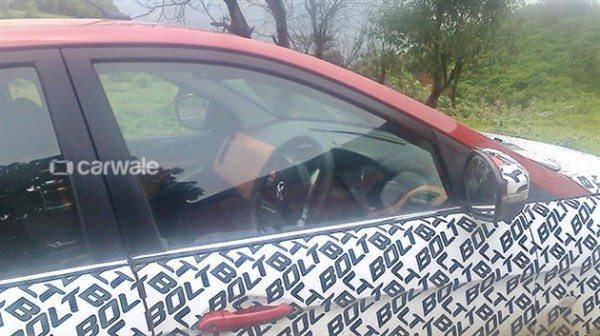 Tata Bolt with orange dashboard inserts spied (1)