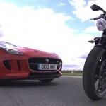 Video: Jaguar F Type V6 S vs Triumph Street Triple R