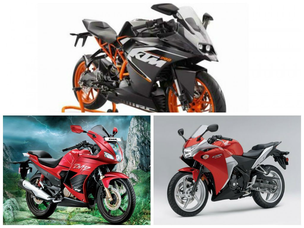 ktm rc  honda cbrr  hero karizma zmr tech specs  features compared motoroids