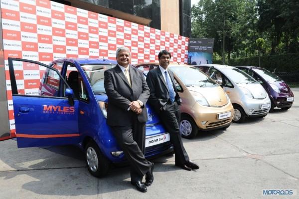 Mr. Rajiv Vij, MD- Carzonrent and Mr. Deepankar Tiwari, Head Institutional Sales - Tata Motors at the launch of Myles City Drive with Nano Twist in Delhi NCR (2)