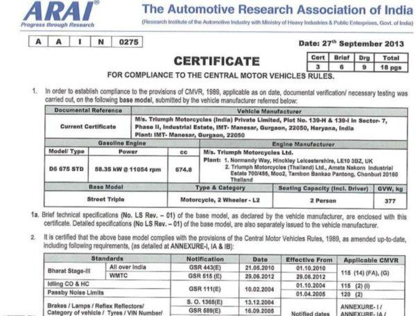 Triumph-Street-Triple-ARAI-Certification-1