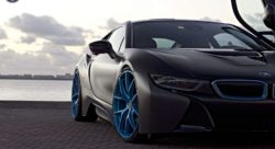 This Matte Black Wrapped Bmw I8 With Blue Hre Wheels Looks The Part