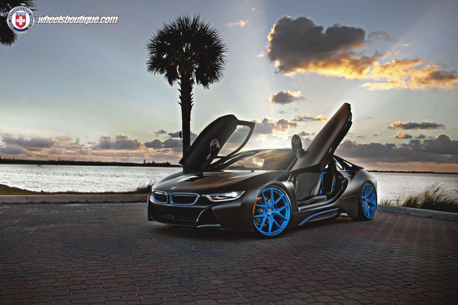 this matte black wrapped bmw i8 with blue hre wheels looks. Black Bedroom Furniture Sets. Home Design Ideas