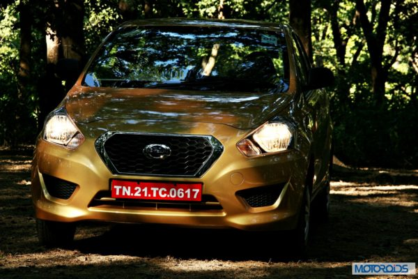 Datsun GO+front in forest