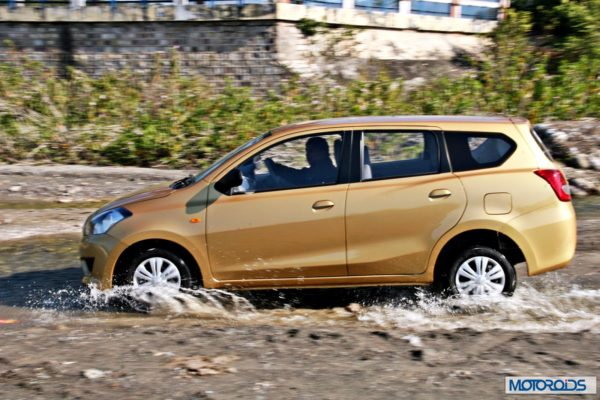 Datsun GO+side profile in water