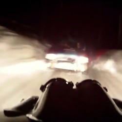 Video: Rally driver crashes head-on into another car during snow stage at night