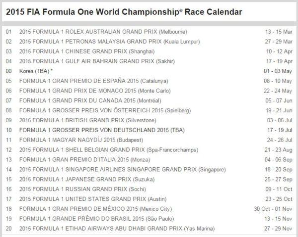 2015 F1 Calendar