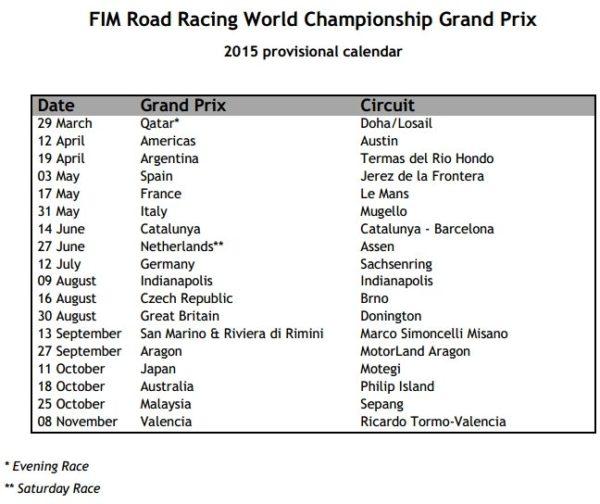 2015 MotoGP Racing Calendar