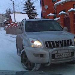 Watch this Toyota Land Cruiser Prado losing traction on snow, quite funny