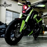 Here is a KTM Duke that dropped its orange shade for a green and mean look