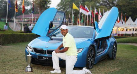 Mr. Anirban Lahiri, winner of the Hero Indian Open 2015 celebrating his ...