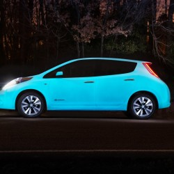 An electrocuted Nissan Leaf that glows in the dark