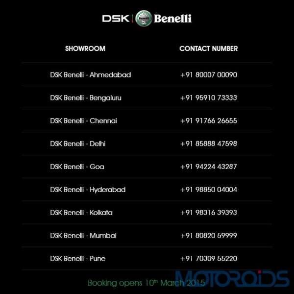 DSK-Benelli India Showroom Contact