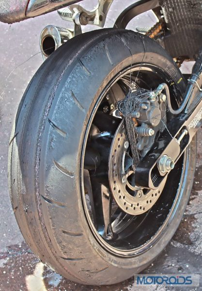 Hayabusa rear tyre after burnout