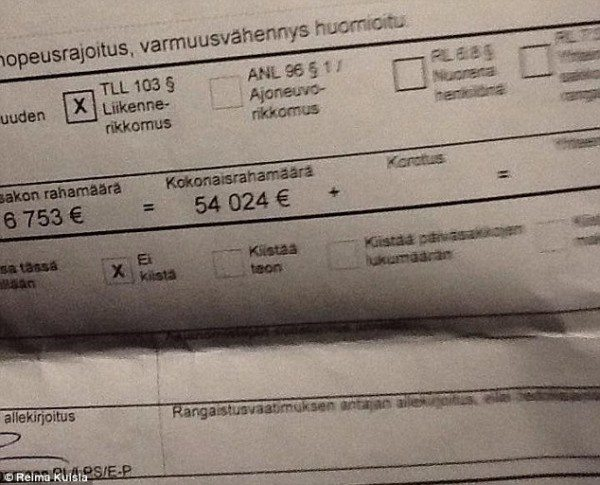 Man fined in finland for speeding
