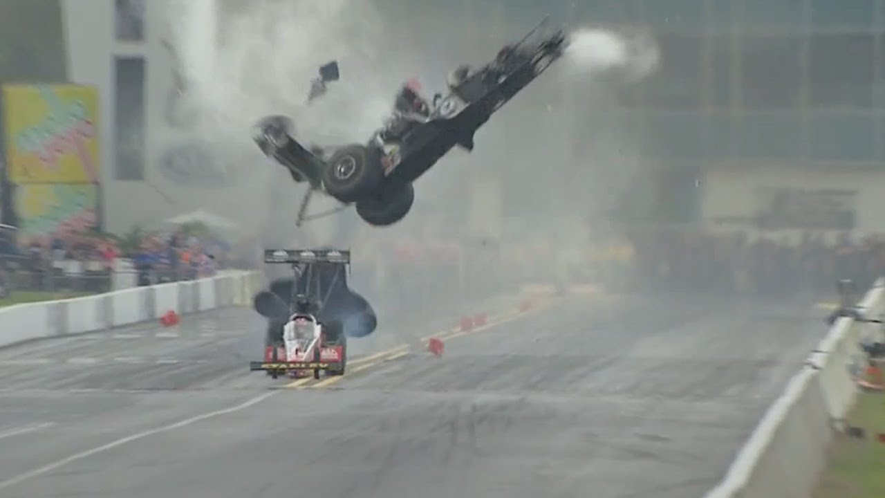 VIDEO: Top Fuel dragster crashes at 280 mph, driver Larry ...