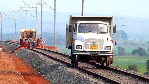 Lorry on tracks