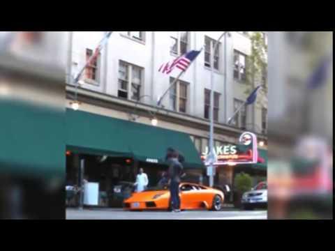 BMX rider jumps over Lamborghini Murciélago