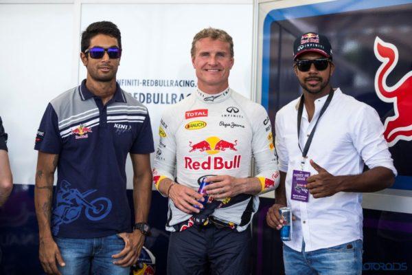 5. L-R CS Santosh, David Coulthard and Varun Aaron
