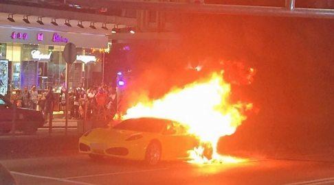 Ferrari F430 on fire (1)