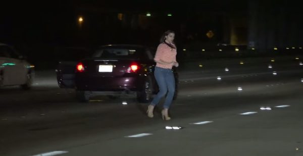 Intoxicated Woman Wanders on San Diego Freeway - 1