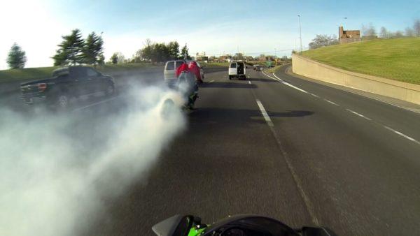 Burnout by biker
