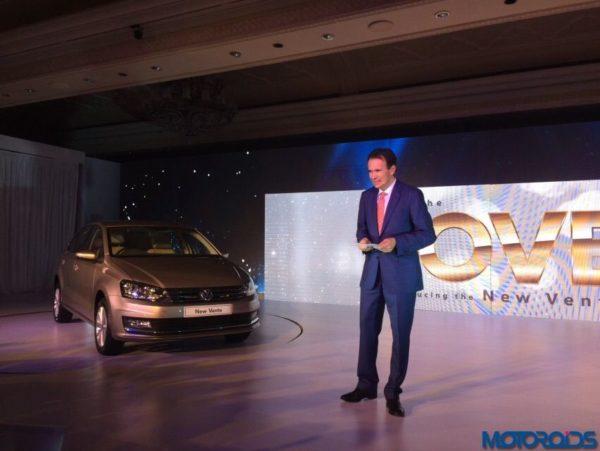2015 Volkswagen Vento facelift launch Michael Mayer Director VW India
