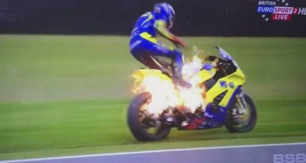 British GP bike catches fire (4)