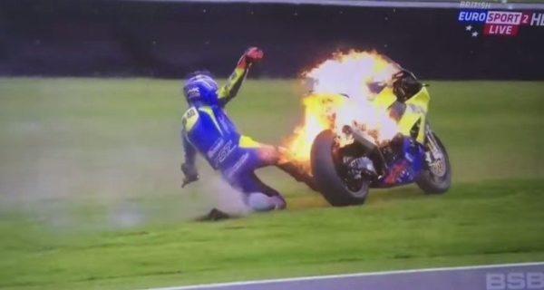 British GP bike catches fire (5)