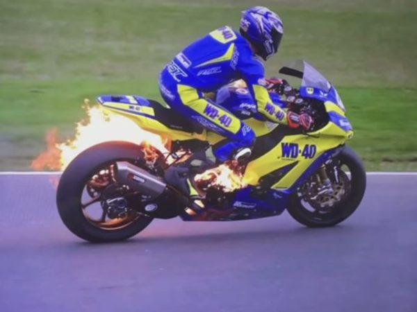 British GP bike catches fire (6)