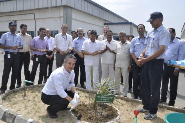 Hiroaki Fujita - YMI-Group Companies during tree plantation at Surajpur plant