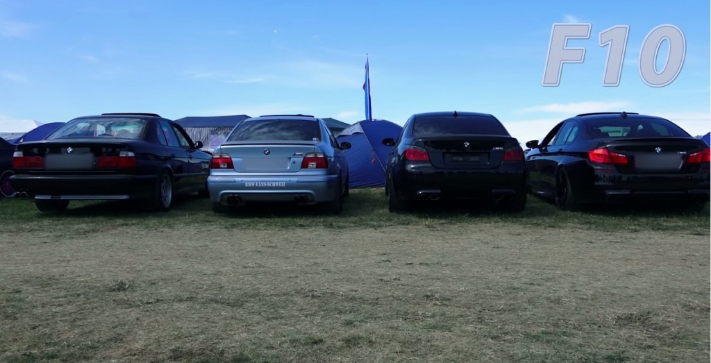 BMW M5 cars four generations exhaust