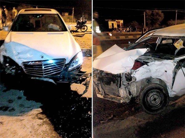 Hema Malini crash Mercedes benz (1)