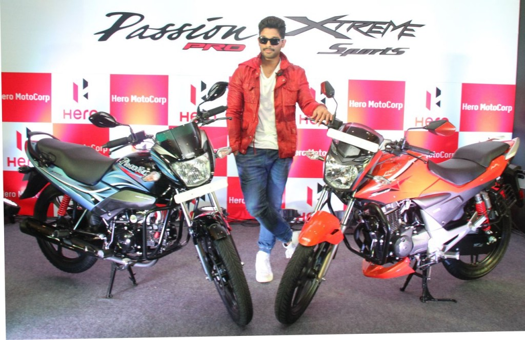 Hero MotoCorp Brand Ambassador and Southern Superstar Allu Arjun unveils new Hero Xtreme Sports and new Hero Passion PRO