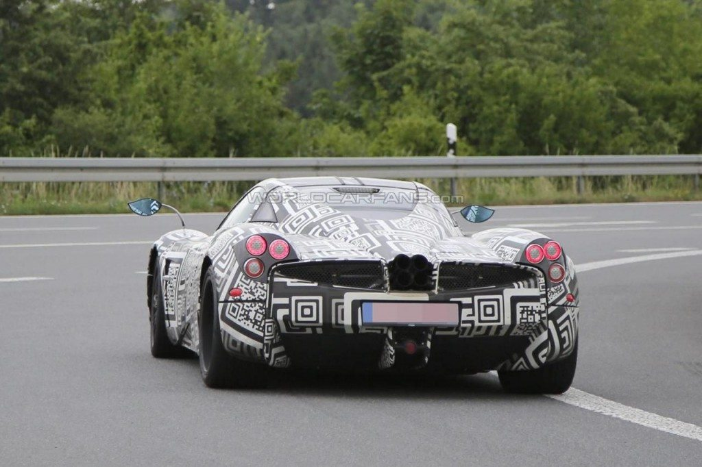 New Pagani Huayra test mule spied rear