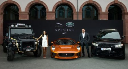 Spectre cast members Naomie Harris and David Bautista are reunited with Jaguar Land Rover stunt vehi