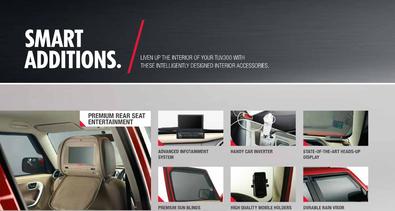 mahindra tuv300 accessories list announced full details inside motoroids. Black Bedroom Furniture Sets. Home Design Ideas