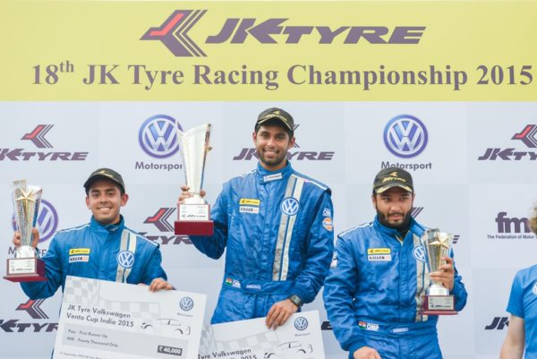 Race winner Anindith Reddy (centre), 2nd position finishers Ishaan Dodhiwala (left) and 3rd position finisher Karminder Singh (right) of Round 2 Race 1 of Volkswagen Vento Cup 2015