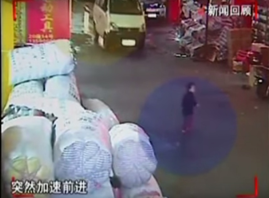 Screengrab of the video of child being runover by a van in China