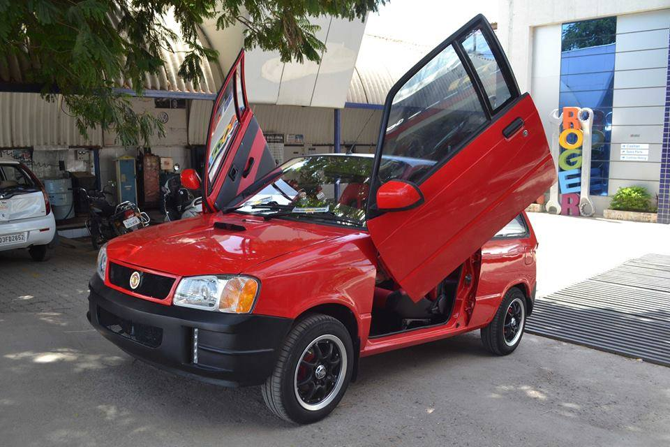 This modified maruti 800 gets scissor doors and tons of for Maruti 800 exterior decoration