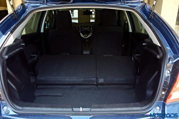 2015 Maruti Suzuki Baleno boot space with backrest down