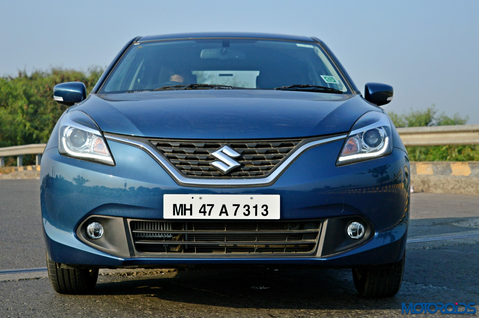 2015 maruti suzuki baleno head on view. Black Bedroom Furniture Sets. Home Design Ideas