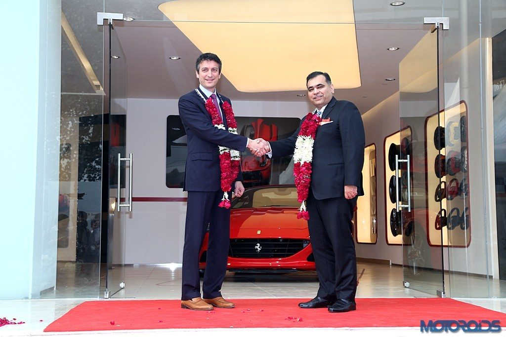 Enrico Galliera, Sr VP Commercial & Marketing, Ferrari SpA withYadur Kapur, Director, Select Cars Pvt. Ltd. at Ferrari showroom launch (Pic-3)