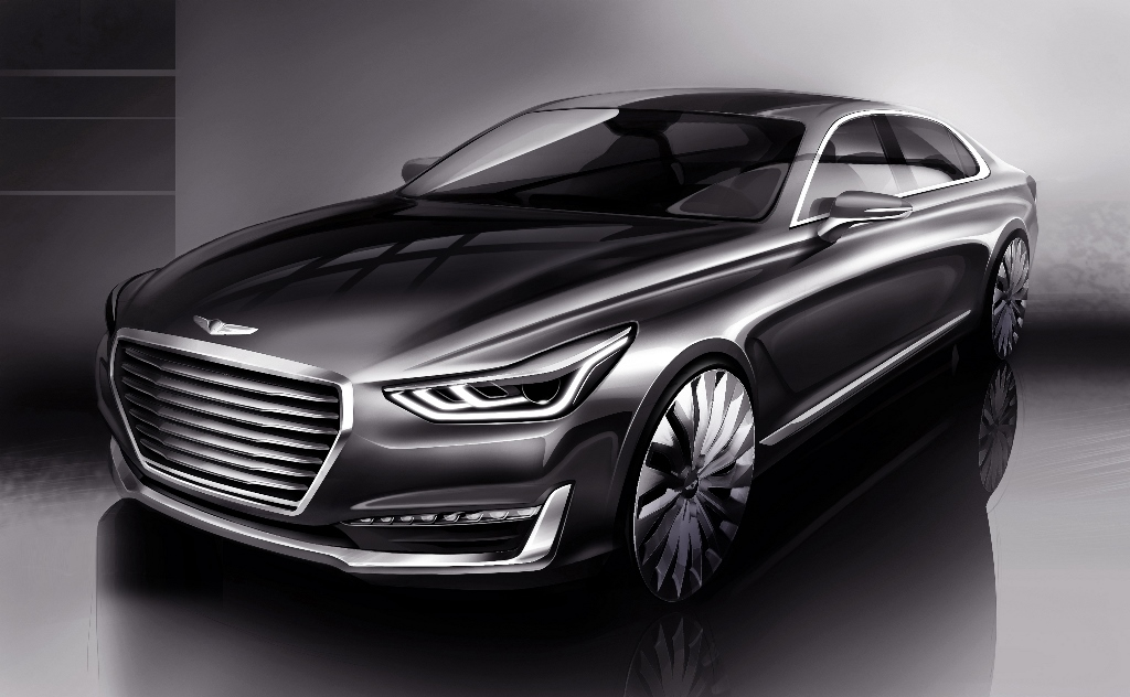 hyundai previews its new genesis g90 a s class rivaling