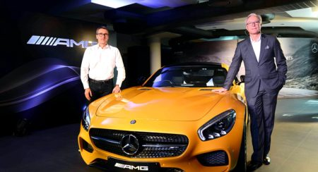 L-R Racing Legend Bernd Schneider with Roland Folger, MD & CEO, Mercedes-Benz India at the Launch of