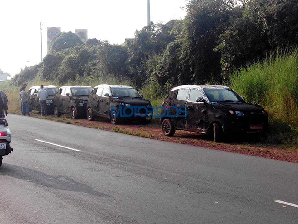 [Updated] New Mahindra XUV100 / S101 test mule reveals the model's styling cues | Motoroids