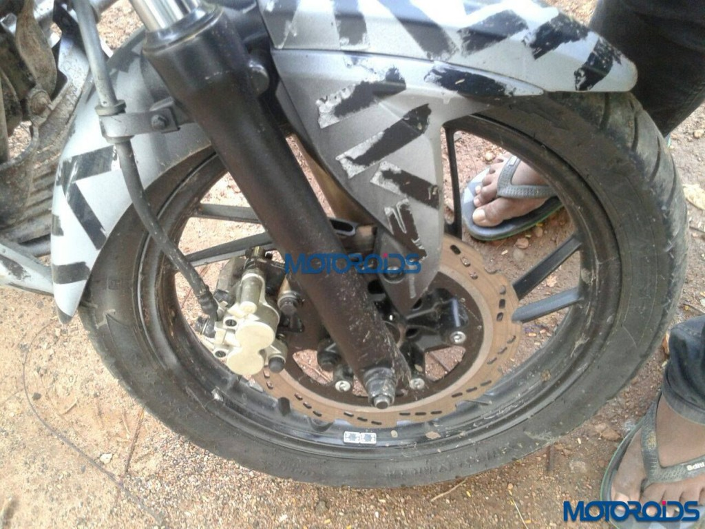 Upcoming TVS Apache 200 Spied Upclose - Front Wheel