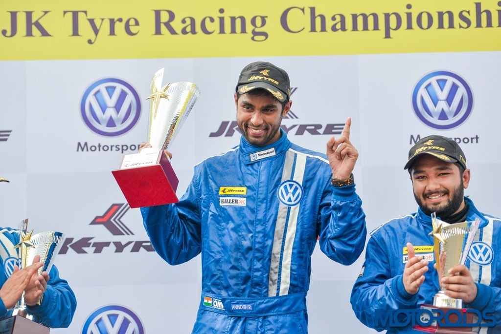 Anindith Reddy with the winners trophy post winning one of the races in Round 3